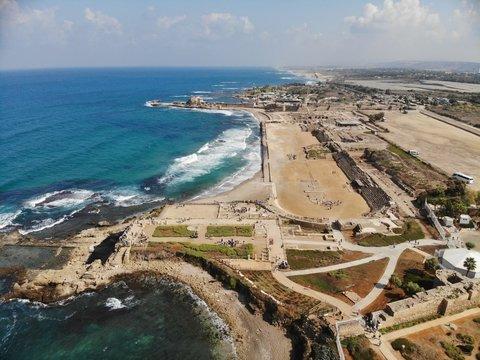 Amphitheater of King Herod in the Caesarea Israel National Park on the Mediterranean Sea