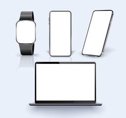 Realistic  Laptop,  Smartphone, watch with transparent Wallpaper Screen Isolated on white. Mockup realistic  device. Stock Vector illustration