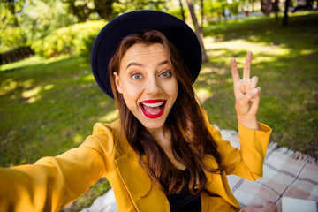 Fototapete - Self-portrait of her she nice-looking attractive lovely charming cute fascinating winsome pretty trendy cheerful cheery excited wavy-haired girl on picnic showing v-sign on fresh air outdoors