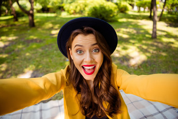 Fototapete - Self-portrait of her she nice-looking attractive lovely charming winsome pretty trendy cheerful cheery wavy-haired girl spending autumn fall season picnic on fresh air outdoors