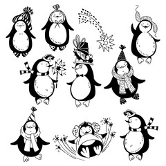 Cartoon penguins. Vector illustration on a white background. Isolated elements, is perfect for invitations, greeting cards for Christmas and New Year.