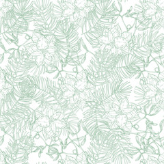 Seamless pattern with mistletoe, poinsettia and pine branches on a white background. Vector. Perfect for greeting cards, invitations, and wallpaper, wrapping, textile.
