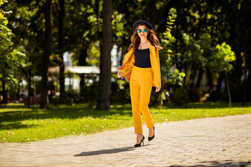 Aufkleber - Full length body size view of her she nice-looking attractive lovely trendy pretty cheerful wavy-haired girl on high heels spending fall autumn on fresh air in green park outdoors