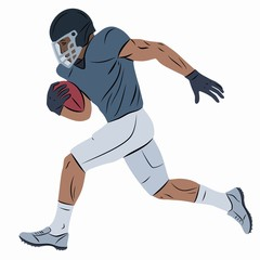 isolated illustration of a football player, vector drawing