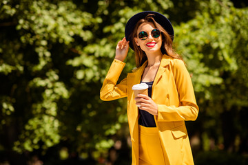 Fototapete - Portrait of her she nice-looking gorgeous glamorous winsome attractive lovely pretty cheerful cheery trendy girl drinking coffee spending fall season on fresh air in green forest wood outdoors