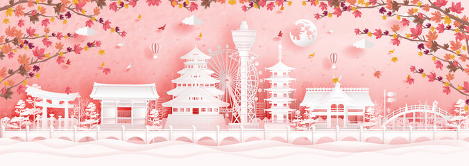 Fototapete - Autumn in Osaka, Japan with falling maple leaves and world famous landmarks in paper cut style vector illustration