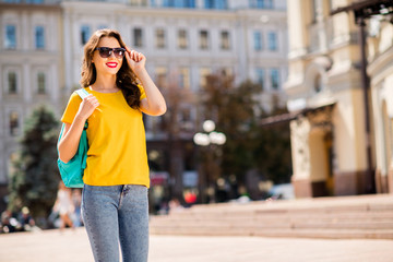Fototapete - Portrait of her she nice attractive lovely charming dreamy cheerful cheery wavy-haired girl enjoying traveling abroad adventure sightseeing landmark in downtown center outdoor