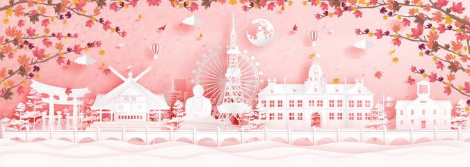 Fototapete - Autumn in Sapporo, Japan with falling maple leaves and world famous landmarks in paper cut style vector illustration