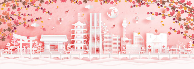 Wall Mural - Autumn in Yokohama, Japan with falling maple leaves and world famous landmarks in paper cut style vector illustration