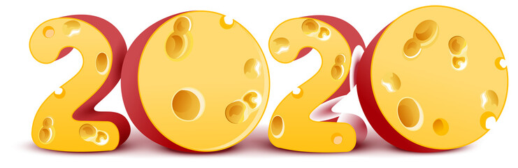 2020 year of mouse on Chinese calendar. Text number from cheese 2020