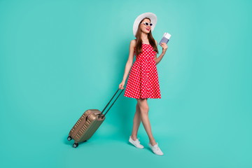 Fototapete - Full length body size view of nice attractive cheerful cheery glad dreamy straight-haired girl departure arrival abroad railway station isolated over green blue turquoise bright vivid shine background