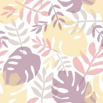 Tropical leaves hand drawn vector seamless pattern