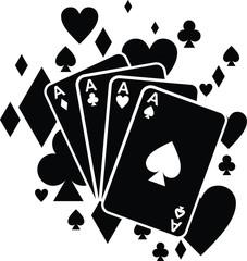 poker chips, Poker Cards Vector Silhouette