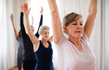 In de dag School de yoga Group of senior people doing yoga exercise in community center club.