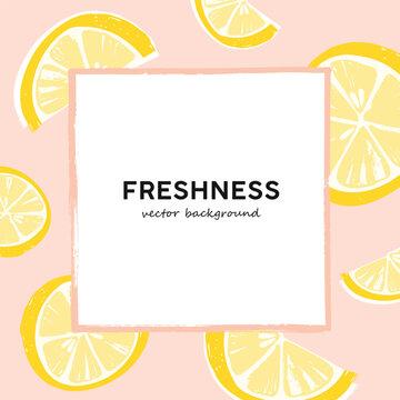 Lemon slices vector summer banner template