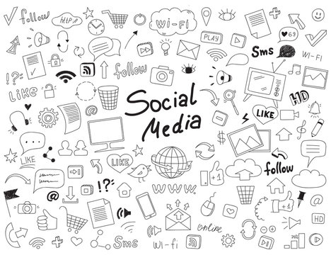 Hand drawn doodle set of social media elements.
