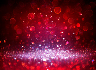 Silver Glitter Sparkling In Red Blurred Background Fototapete