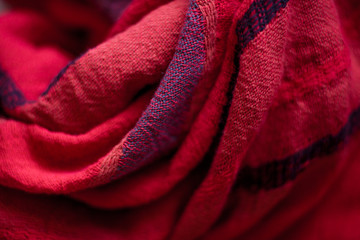 Red woolen fabric cloth background