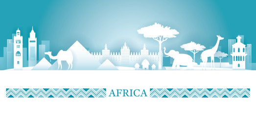 Africa Skyline Landmarks in Paper Cutting Style