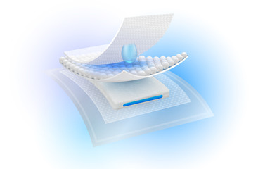 Protection system shows the steps of the 4 sheets absorbent layer, water droplets and ventilation Used for advertising sanitary napkins, diapers, mattresses and adults. Vector realistic file.