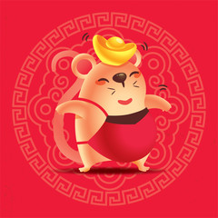 Chinese New Year 2020. Cute rat head with gold ingot on traditional oriental ornament design red background with calligraphy lettering. Year of the rat. - vector