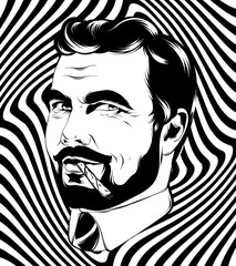 Vector hand drawn illustration of man with beard and cigarette isolated.