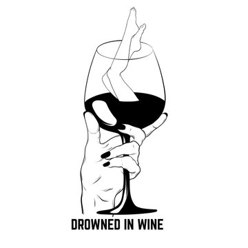 Vector hand drawn illustration of glass of wine with human legs isolated.