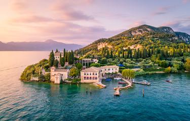 Fotorollo Blau türkis Punta San Vigilio, Verona province, Garda Lake, Veneto, Italy