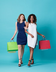 Portrait of two happy young woman hand holding shopping bag isolated over blue background.