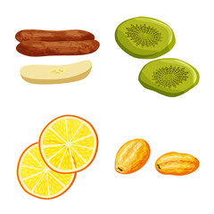 Fototapete - Vector design of fruit and dried symbol. Collection of fruit and food stock symbol for web.
