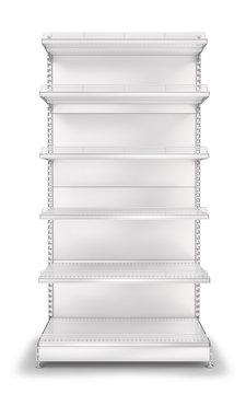 Metal prefabricated shelf display case for a supermarket. 3D illustration