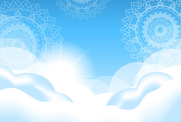 Background design with mandalas in sky