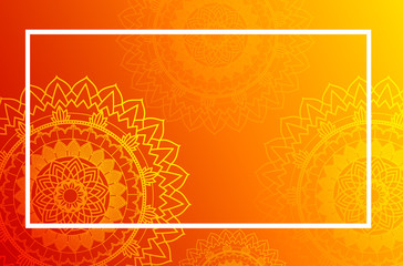 Border template with mandalas on orange background