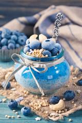 Blue spirulina chia pudding