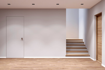 3d illustration. An empty entrance hall with stairs, doors, picture, and console