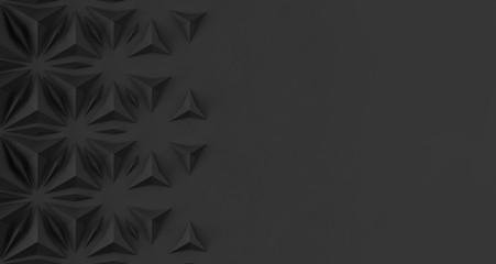 Triangular abstract geometric dark background of triangular volumetric elements of different random size. 3D illustration