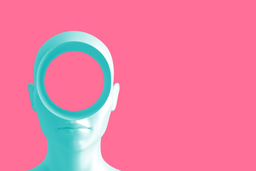 Poster Candy pink Concept art on education and problem solving. Porcelain female head with a round hole in it.3D illustration