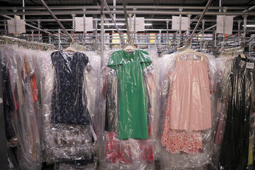 "Garments hang at Rent the Runway's ""Dream Fulfillment Center"" in Secaucus, New Jersey"