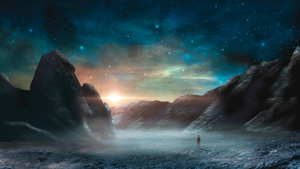 Man standing in sci-fi magical landscape with rock valley, star and sun. Digital painting illustration. Element furnished by NASA. 3d rendering