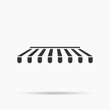 Icon of awning canopy for shops, cafes and street restaurants. Striped black and white sunshade. Vector illustration. Outside canopy from the sun.