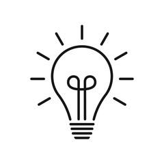 Light bulb line icon vector. Flat lamp sign. Idea symbol.