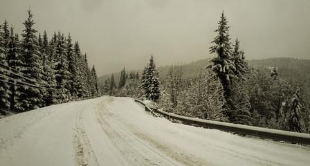 Winter road in the Carpathian mountains, Ivano-Frankivsk region, Ukraine