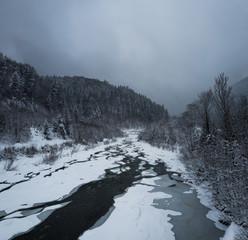 Snowy winter in the Carpathians. Mountain river and snow forest. Vorokhta, Ivano-Frankivsk region, Ukraine