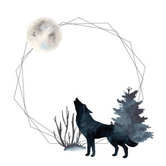 Watercolor polygonal frame with wolf and moon