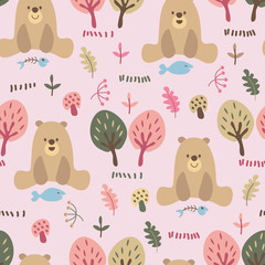 seamless repeat pattern with cute bears