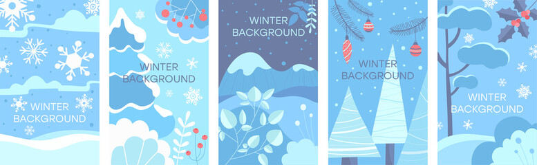 Set of winter abstract backgrounds. Design for winter season sale banner, poster or christmas greeting card, festival invitation, paper cut out art style. Flat Vector Illustration