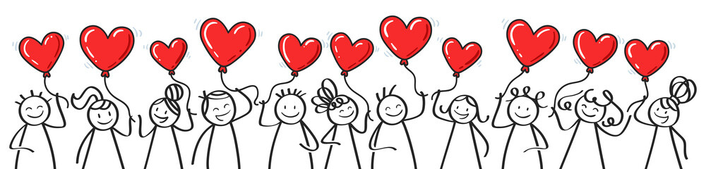 Valentine's Day, stick figures holding heart shaped balloons, horizontal banner