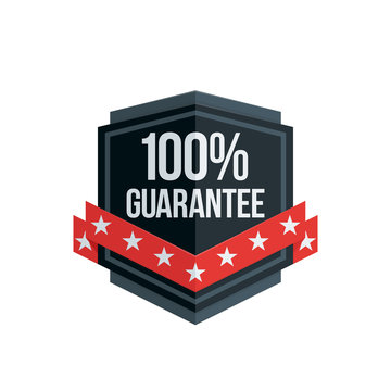 100% Guarantee shield label with ribbon illustration