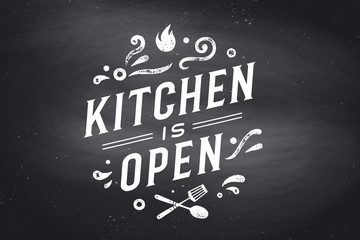 Kitchen Open. Wall decor, poster, sign, quote