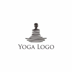 Vector hand lettering sketchy yoga logo